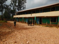 This is the 3rd Grade through 6th Grade classroom building as seen from the playground.